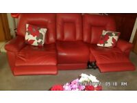 2 x 3 Seater Leather sofas with 2 Manual Actions.