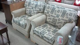 Cream patterned 3 piece suite with footstool