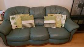 Green leather 3 piece suite & foot stool