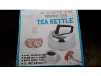 Whistling Tea/Coffee etc. Kettle - All Stainless Steel - used once £4.50