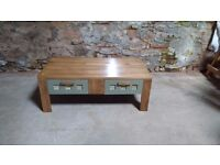 Large Solid wood Coffee Table with two Drawers – Beautifully finished – Dark Oak and Sage Green