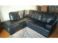 Navy Blue Leather Corner Sofa