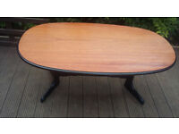 sellers refurbished coffee table with danish oil top and black legs