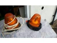 2 orange vehicle beacons with magnetic base