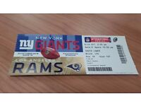 1 NFL Ticket New York Giants vs LA Rams ** ENZONE * ROW 18 **