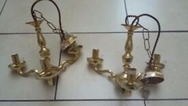 Two Brass Ceiling Lights