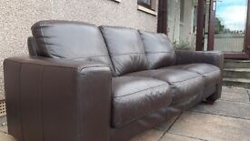 Chocolate brown leather 2 & 3 seater sofas