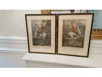pair of antique pictures noble men on their horses