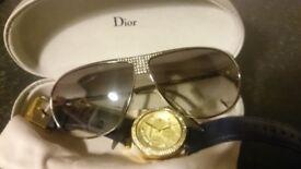 Designer watch and vintage sunglasses
