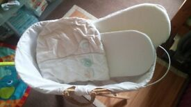 Moses Basket + (Two Mattress with protectors, baby sheet, wee duvet)