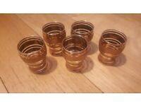 5 Vintage gold shot whisky glasses