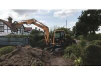 All garden and tree work undertaken mini and micro digger hire with driver