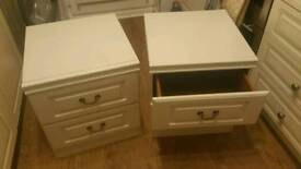 X 2 bedside draws..in white.good condition..large
