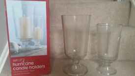 SET OF 2 GLASS HURRICANE CANDLE HOLDERS