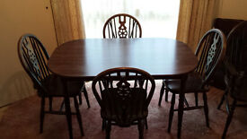 Dining table, scratch/stain/water-proof dark wood. 'Child-friendly' rounded corners!