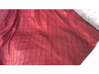 One pair curtains claret red lined silk with pelmet