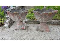 Pair of Vintage, very heavy, thick and beautifully weathered concrete