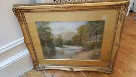 antique watercolour painting, signed and dated 1916 in original gilt frame