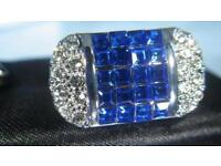 Men's cuff links with blue and white crystals