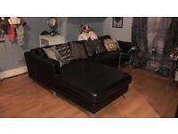 Black leather sofa - John Lewis - L-shaped