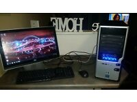 "HOME COMPUTER 22"" MONITOR MOUSE & KEYBOARD WIN 7 OFFICE NERO 12 FULL"