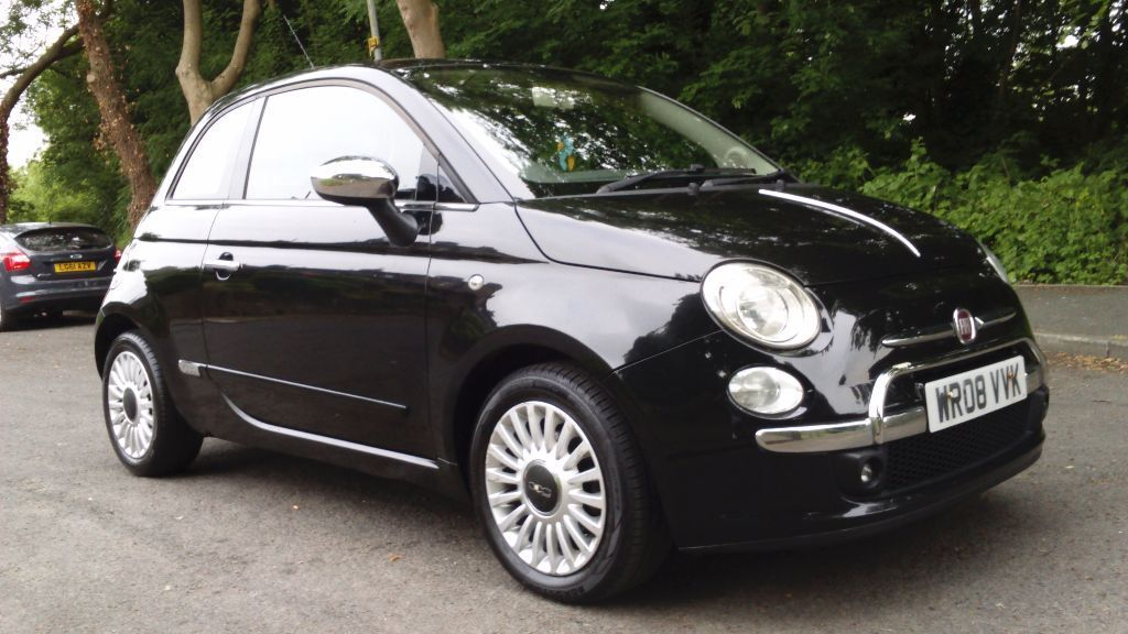 fiat 500 2008 1 4 lounge dualogic black with red leather interior in bradford west yorkshire. Black Bedroom Furniture Sets. Home Design Ideas