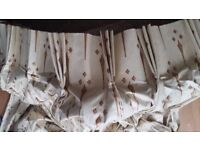 Large cream coloured curtain cotton sateen finish with red and gold fleur de lis pattern
