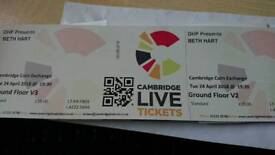 Two tickets for Beth Hart at Cambridge Corn Exchange
