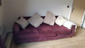 Lovely HABITAT maroon corduroy sofa