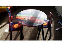 Disney cars toddler table and two chairs