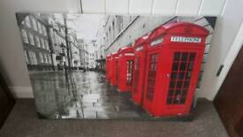 Black & white london hand-finished canvas with red phone boxes