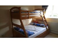 Solid triple sleeper bunkbed and chest of draws - single and double
