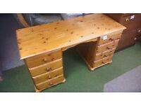 Pine desk dresser with 6 drawers