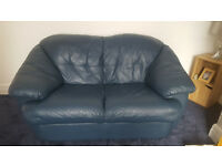 2 seater Real Leather Sofa. Blue.