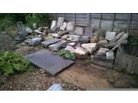 Garden rockery stones, rocks, slabs, features. Some large.