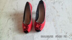 """Red 3"""" Heeled Shoes Size 5"""