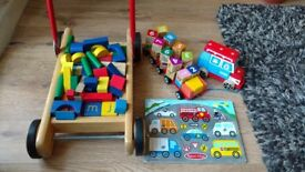 BUNDLE of educational WOODEN TOYS. Trolley with blocks, cars x 2, cars puzzle