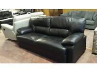 New 3 seater leather black sofa