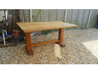 Large Solid Oak Refectory Dining Table