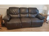 Leather sofa with recliner seats