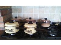 5 POTS WITH LIDS, SEE ALL ADS AS SELLING HOUSE CONTENTS SUE TO MOVING..LOTS OF GREAT ITEMS