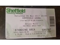 BRUNO MARS tickets for Sheffield Motorpoint arena 6th May. 4 tickets available. £100 each ono