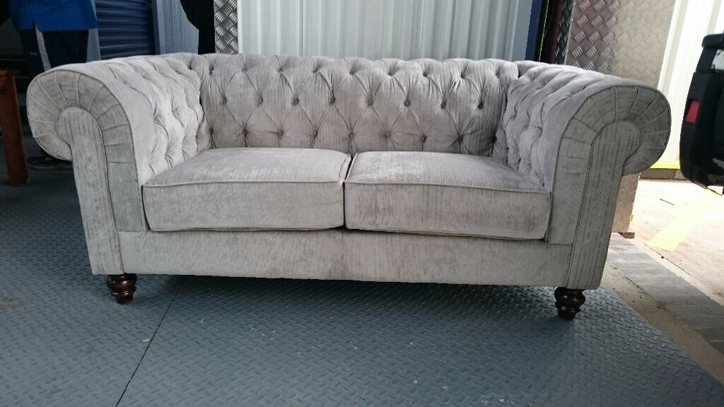 ex display debenhams 2+3 seater grey chesterfield sofas in Bulwell, Nottinghamshire Gumtree