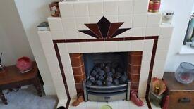 Artdeco style tiled fire surround