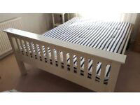 Solid Wood White Double Bed Frame