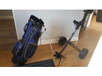 Golf bag, trolley and various clubs