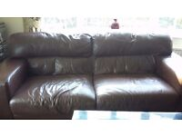 Brown leather sofa and 2 chairs FREE