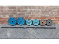 41KG CAST IRON WEIGHTS SET WITH BARBELL