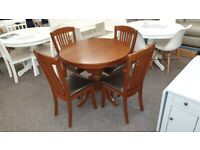 Canterbury Round to Oval Extending Table & 4 Chairs Can Deliver