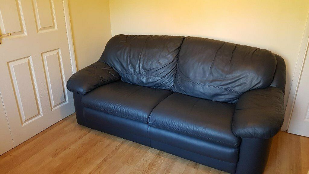 Navy Blue Leather Sofa X 2